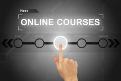Hand clicking online courses button on a screen interface Stock Image