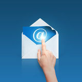 Hand clicks on an email. Hand clicks on an email concept design royalty free stock photography
