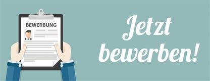 Hand Clipboard Jetzt Bewerben Man Header. German text jetzt bewerben, translate apply now Royalty Free Stock Photography