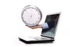 Hand clock. Broken laptop screen with hand stands clock Royalty Free Stock Images