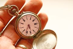 The hand clock in a hand Royalty Free Stock Image