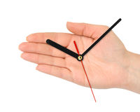 Hand with clock-hands Royalty Free Stock Images