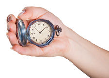 Hand with clock Royalty Free Stock Photos
