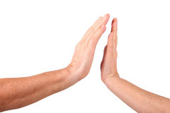 Hand close up to man hand show palm gesture Royalty Free Stock Photo