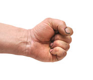 Hand closed in a fist. Isolated on a white background Royalty Free Stock Image