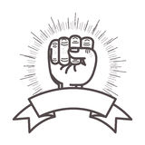 Hand closed fist. Icon over white background. sport and exercise design. vector illustration Stock Image
