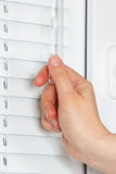 Hand closes the blinds on white plastic window Royalty Free Stock Photo