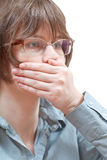 Hand closing mouth - hand gesture Stock Photo