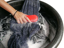 Hand clothes washing. With clothes brush Stock Images
