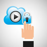 Hand cloud player security Royalty Free Stock Image