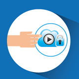 Hand cloud player security Stock Photo