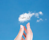 Hand with cloud of travel  Stock Photography