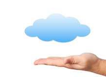 Hand and cloud on white background Royalty Free Stock Photography