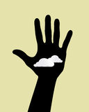Hand  with clouds cartoon background.  Stock Photography