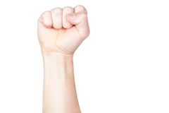 A hand clutched in his fist Royalty Free Stock Photo