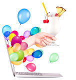 Hand with cocktailand laptop Royalty Free Stock Photography