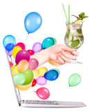 Hand with cocktailand laptop Royalty Free Stock Photo