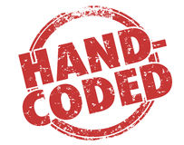 Hand-Coded Word Stamp Programmer Development Coder. Hand-Coded words in a round red stamp to illustrate or advertise your website, software or program was made Stock Image
