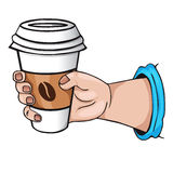 Hand with coffee. cartoon Style Royalty Free Stock Photography