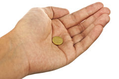 Hand and coin Royalty Free Stock Images