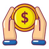 Hand coin icon, cartoon style. Hand coin icon. Cartoon illustration of hand coin vector icon for web Royalty Free Stock Image