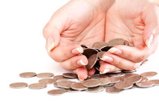 Hand with coins Stock Image