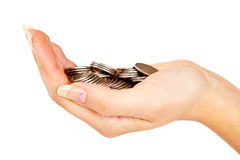 Hand with coins Royalty Free Stock Photography