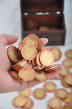 Hand of coins Stock Photo