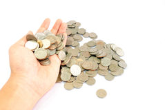 Hand with coins Royalty Free Stock Photos