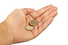 Hand with coins Royalty Free Stock Photo