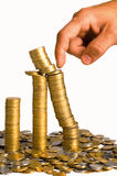 Hand and coins Royalty Free Stock Images