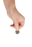 Hand with coins isolated. Stock Photography