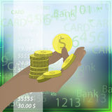 HAND coins a lot of dollar HOLD ON THE PHONE Stock Images