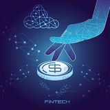 Hand with coins money financial technology. Vector illustration design Royalty Free Stock Image