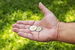 Hand with coins Stock Photo