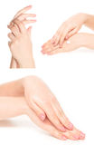 Hand collage. Gestures set isolated on white Royalty Free Stock Photo