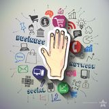 Hand collage with icons background Stock Photography