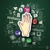 Hand collage with icons on blackboard. Vector illustration Royalty Free Stock Images