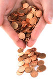 Hand collecting cent coins Royalty Free Stock Images