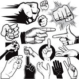 Hand Collection. Clip art collection of hands and gestures Stock Photo