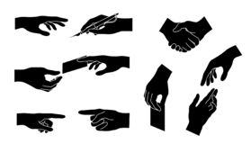 Hand collection. Vector silhouette. Concept for business. Hand collection. Set icons. Different gestures. Isolated black silhouette. Concept for business. Vector royalty free illustration