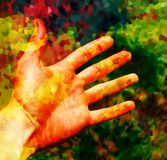 Hand and color abstract background. Structure background. Stock Photography