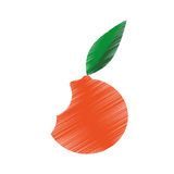 Hand colored drawing orange bite icon Royalty Free Stock Photography