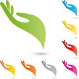Hand, colored, physiotherapy und orthopedic logo Stock Photo