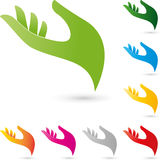 Hand, colored, physiotherapy und orthopedic logo Royalty Free Stock Photos