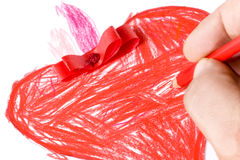 Hand Colored Red Heart Closeup Drawing Stock Photo