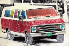 Hand colored van on street Stock Photo