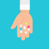 Hand with Colourful Medicine Pills. Flat Vector Illustration Royalty Free Stock Photos
