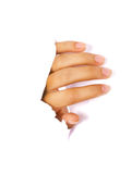 Hand coming out from cracked white wall Stock Images