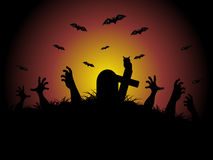 Hand coming out in the graveyard, illustration Stock Photo
